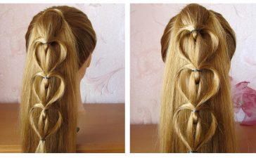 تسريحة شعر على شكل قلب