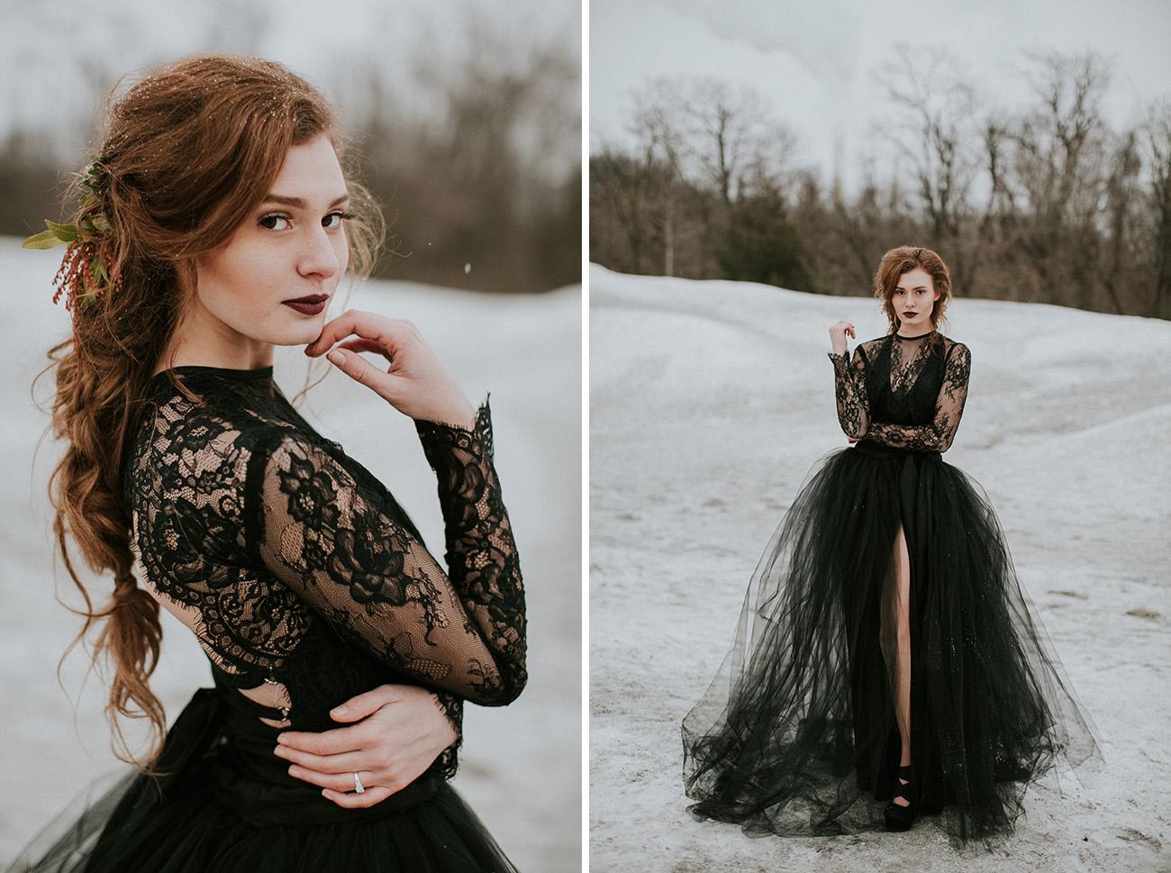 فستان زفاف أسود مزين بالدانتيل