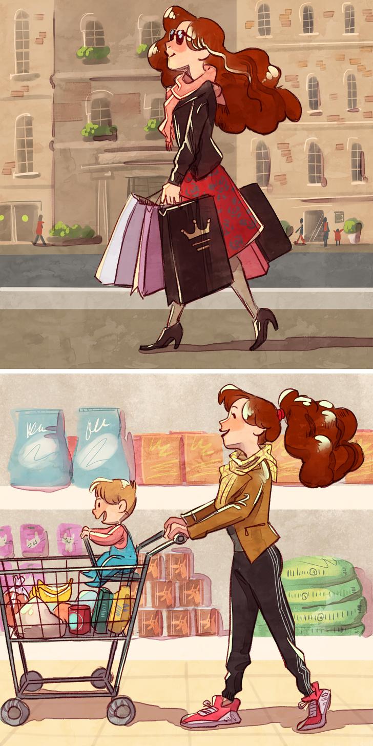 الفرق بين العزوبية والزواج في التسوق