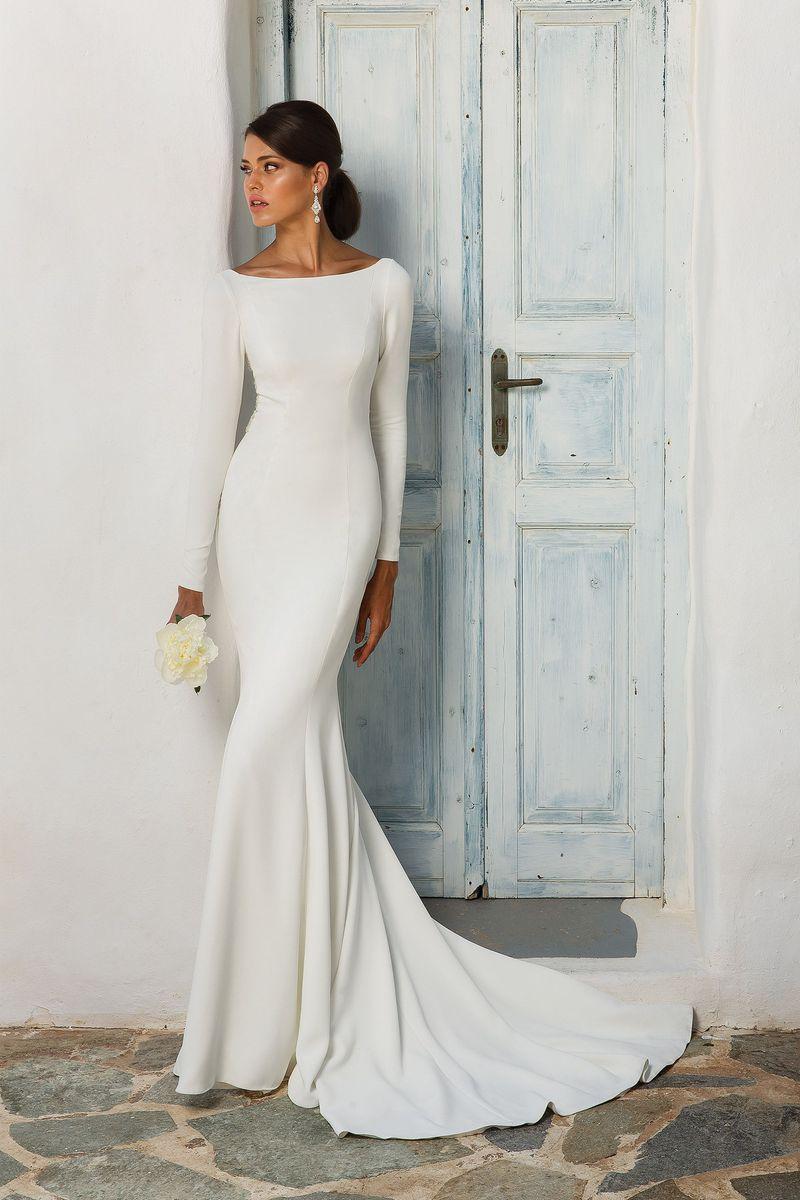 فستان زفاف عصري بأكمام أنيقة