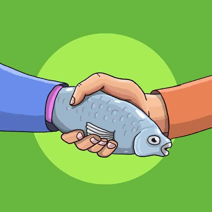 المصافحة تكشف الأسرار النفسية : السمكة الميتة