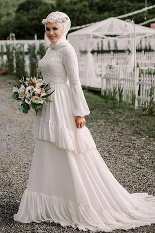 فستان عروس محجبة متدرج