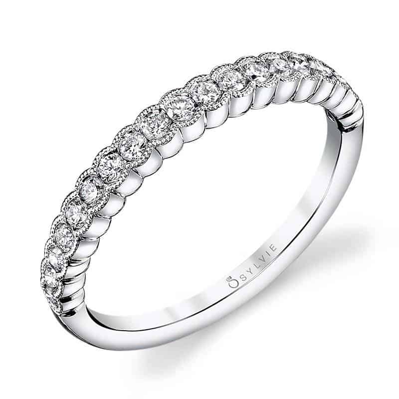 خاتم زفاف من الذهب الأصفر والماس