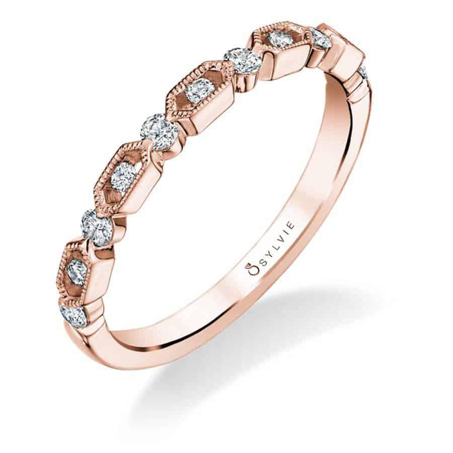 خاتم زفاف من الذهب الأبيض والماس