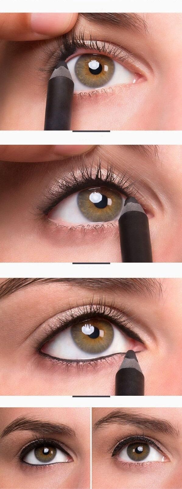 مكياج عيون بالخطوات : الفرشاة والقلم فقط