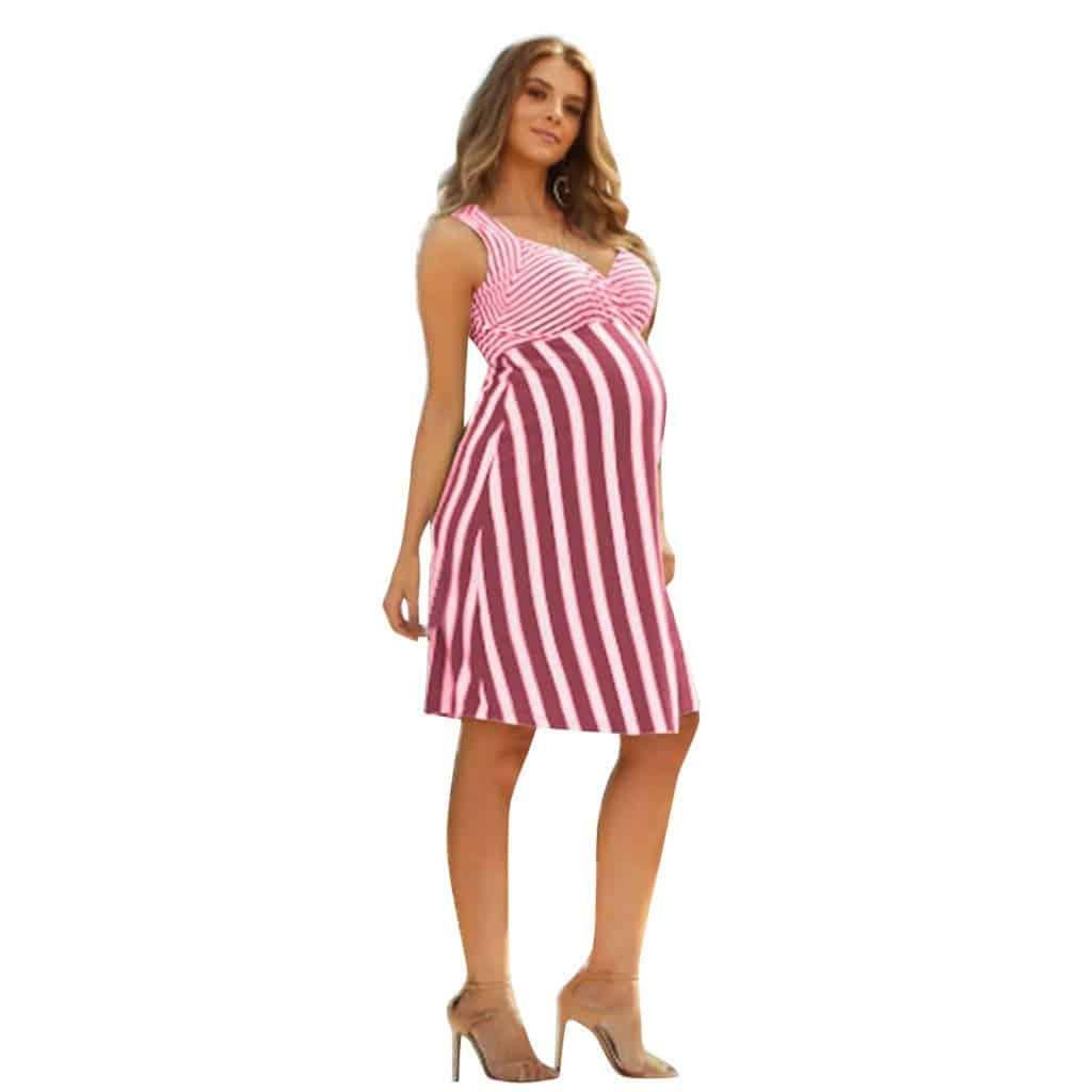 فستان حوامل قصير مخطط