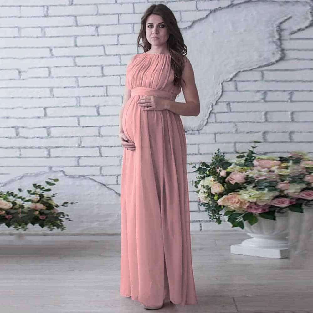 فستان زهري للحوامل