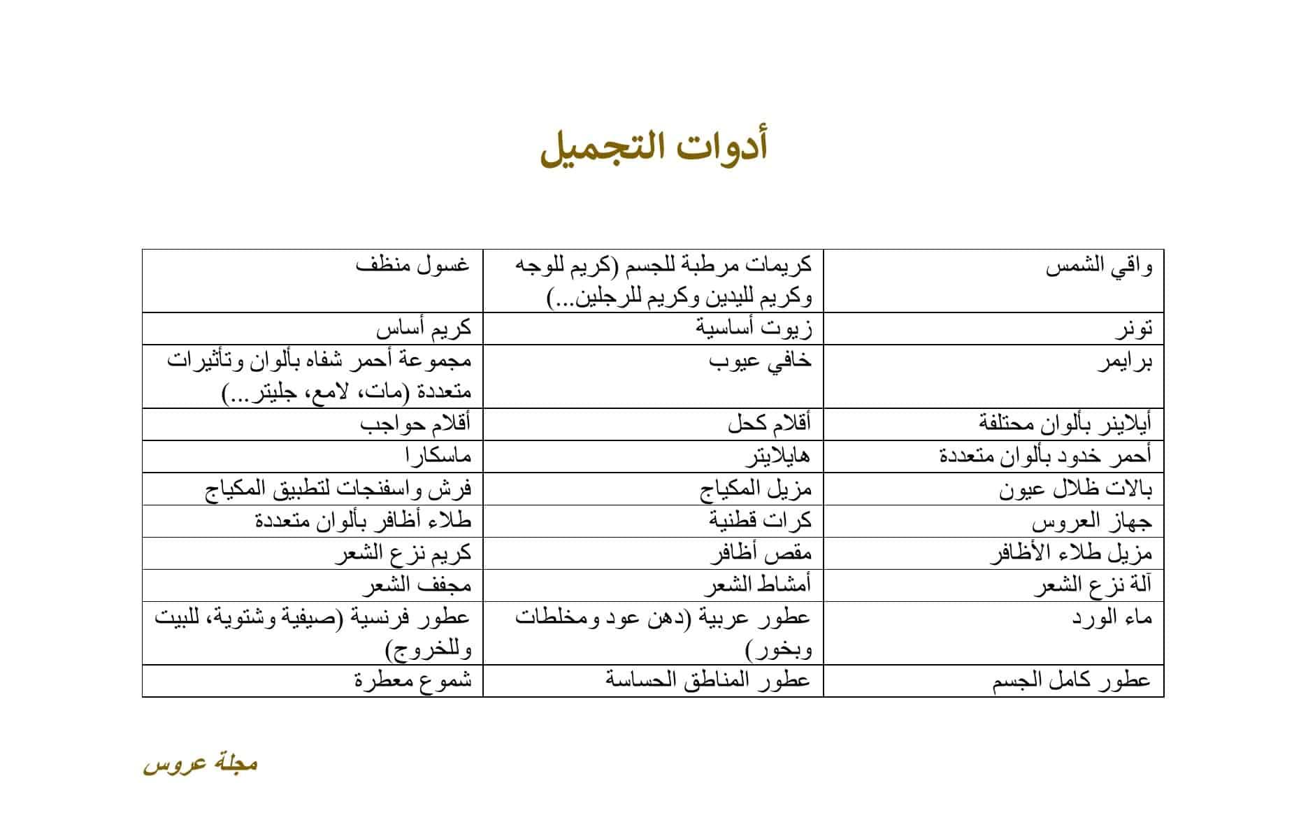 قائمة أدوات التجميل في جهاز العروس