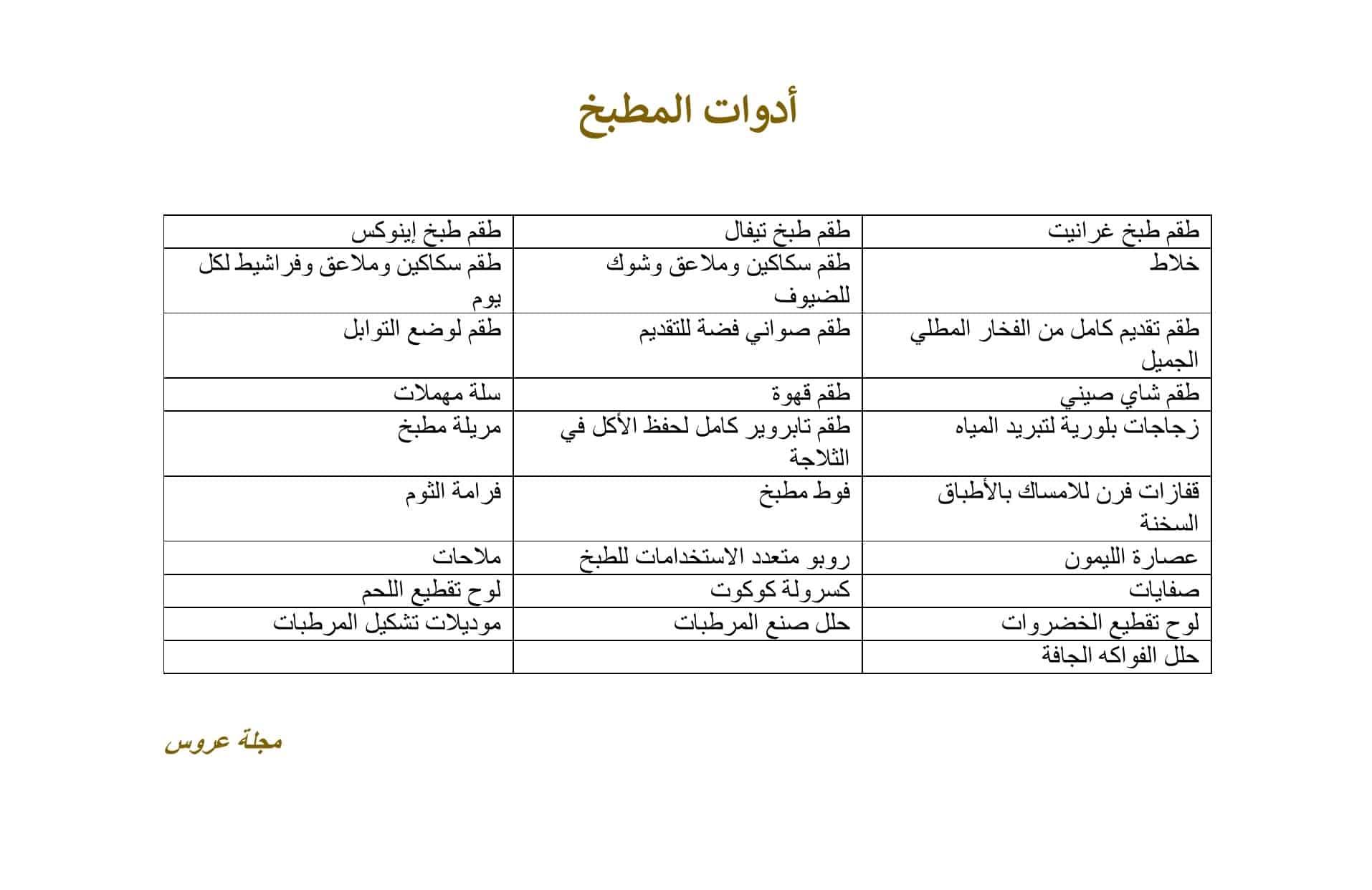 قائمة جهاز أدوات المطبخ للعروس