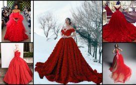 أجمل فساتين زفاف حمراء