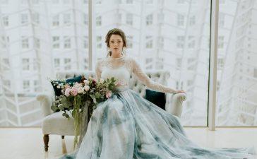 فستان زفاف أزرق