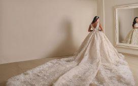 أجمل فساتين الزفاف بالريش