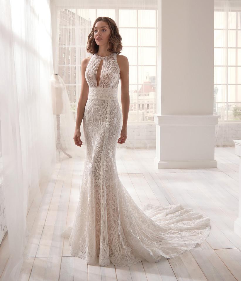 فستان زفاف بقصة حورية البحر بحزام عند الخصر